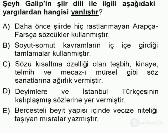 XVIII. Yüzyıl Türk Edebiyatı Tek Ders Sınavı 10. Soru