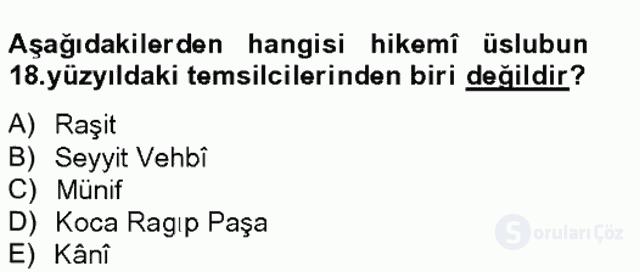 XVIII. Yüzyıl Türk Edebiyatı Tek Ders Sınavı 16. Soru