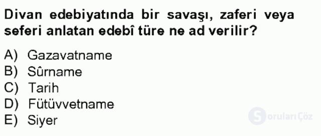 XVIII. Yüzyıl Türk Edebiyatı Tek Ders Sınavı 19. Soru