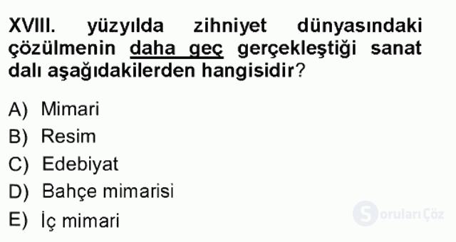 XVIII. Yüzyıl Türk Edebiyatı Tek Ders Sınavı 2. Soru