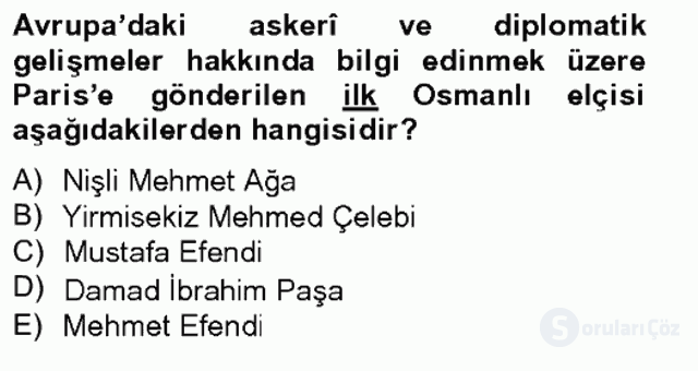 XVIII. Yüzyıl Türk Edebiyatı Tek Ders Sınavı 3. Soru