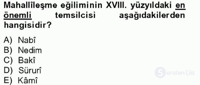 XVIII. Yüzyıl Türk Edebiyatı Tek Ders Sınavı 5. Soru