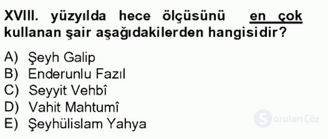 XVIII. Yüzyıl Türk Edebiyatı Tek Ders Sınavı 6. Soru