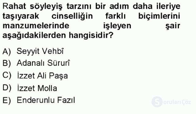 XVIII. Yüzyıl Türk Edebiyatı Tek Ders Sınavı 7. Soru