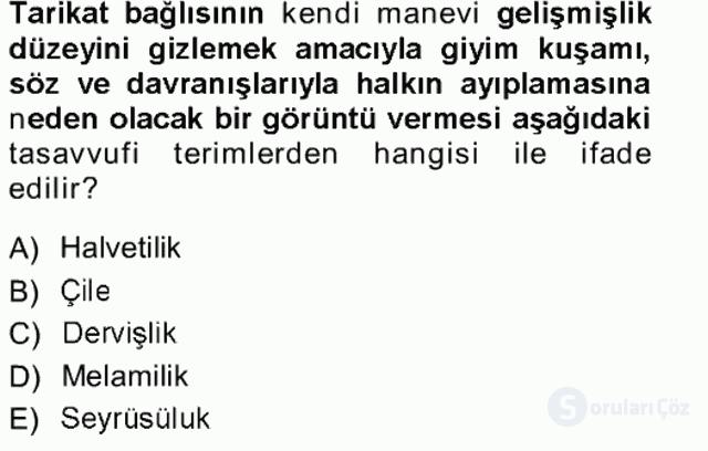 XVIII. Yüzyıl Türk Edebiyatı Tek Ders Sınavı 8. Soru