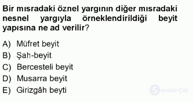 XVIII. Yüzyıl Türk Edebiyatı Tek Ders Sınavı 9. Soru