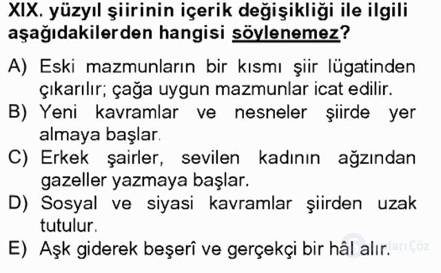 XIX. Yüzyıl Türk Edebiyatı Tek Ders Sınavı 1. Soru