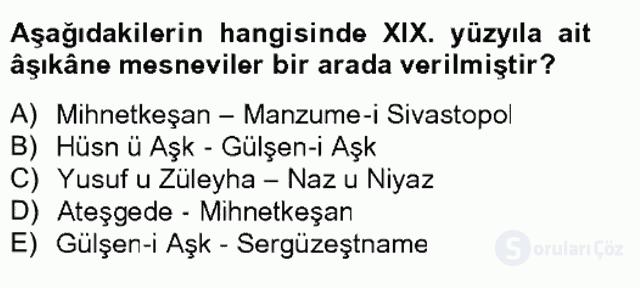 XIX. Yüzyıl Türk Edebiyatı Tek Ders Sınavı 12. Soru