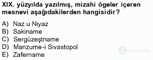 XIX. Yüzyıl Türk Edebiyatı Tek Ders Sınavı 15. Soru