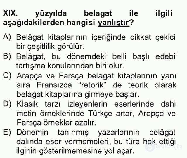 XIX. Yüzyıl Türk Edebiyatı Tek Ders Sınavı 19. Soru