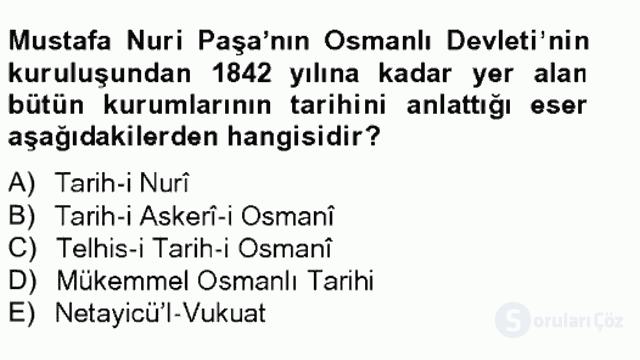 XIX. Yüzyıl Türk Edebiyatı Tek Ders Sınavı 20. Soru
