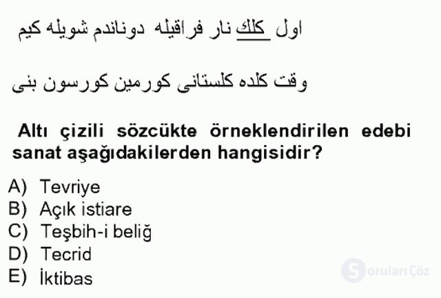 XIX. Yüzyıl Türk Edebiyatı Tek Ders Sınavı 3. Soru