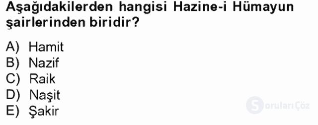 XIX. Yüzyıl Türk Edebiyatı Tek Ders Sınavı 4. Soru