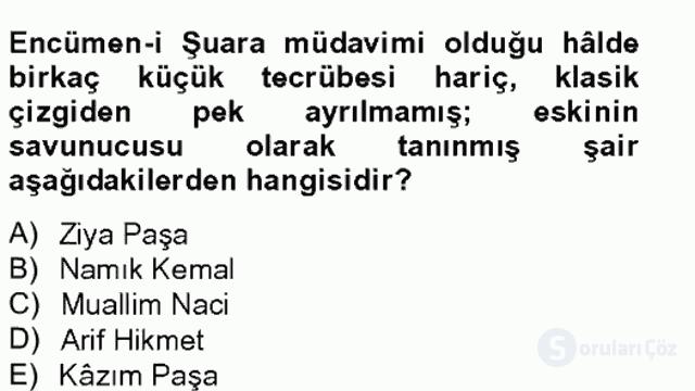 XIX. Yüzyıl Türk Edebiyatı Tek Ders Sınavı 6. Soru