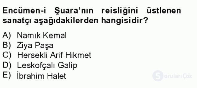 XIX. Yüzyıl Türk Edebiyatı Tek Ders Sınavı 7. Soru