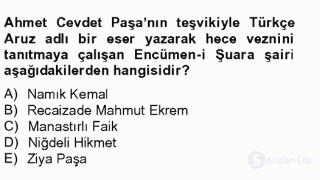XIX. Yüzyıl Türk Edebiyatı Tek Ders Sınavı 8. Soru