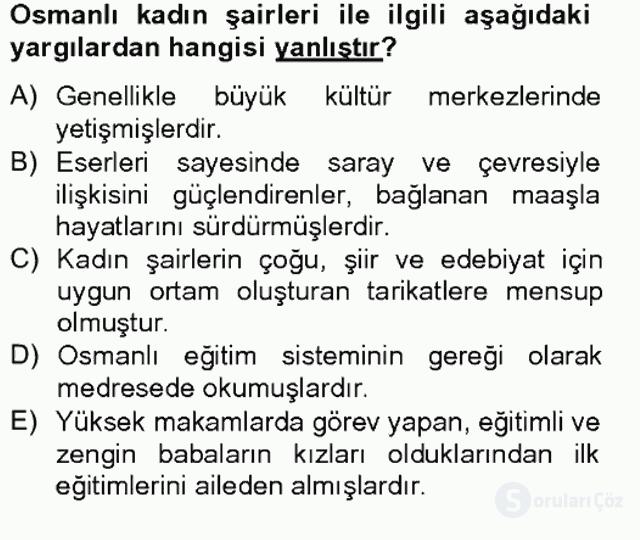 XIX. Yüzyıl Türk Edebiyatı Tek Ders Sınavı 9. Soru