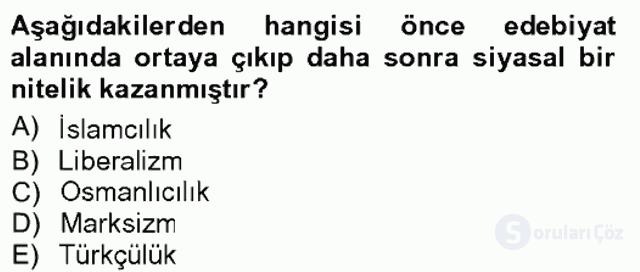 Cumhuriyet Dönemi Türk Şiiri Tek Ders Sınavı 1. Soru