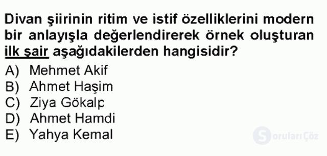 Cumhuriyet Dönemi Türk Şiiri Tek Ders Sınavı 11. Soru