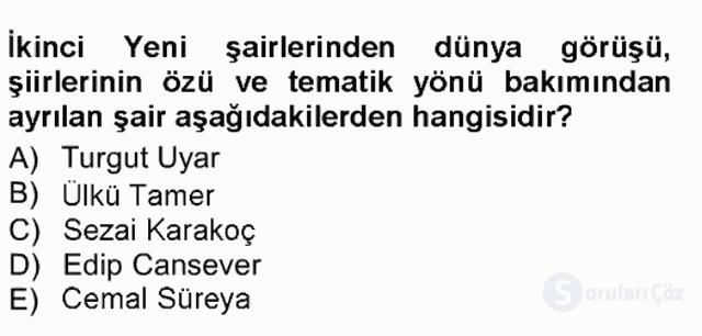Cumhuriyet Dönemi Türk Şiiri Tek Ders Sınavı 12. Soru