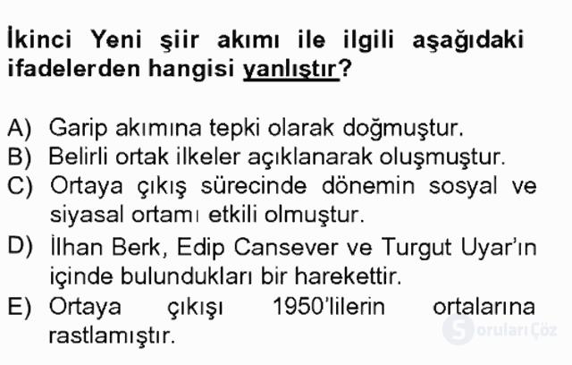 Cumhuriyet Dönemi Türk Şiiri Tek Ders Sınavı 13. Soru