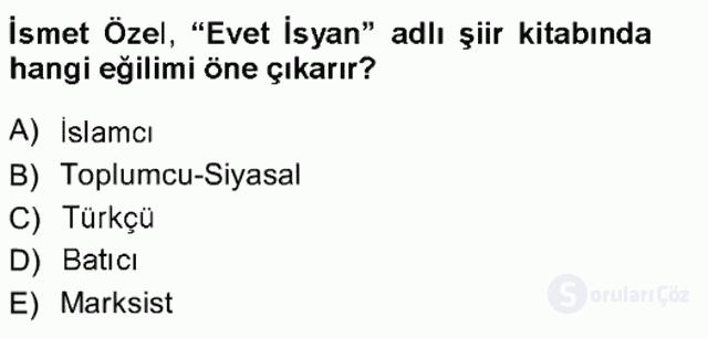 Cumhuriyet Dönemi Türk Şiiri Tek Ders Sınavı 15. Soru