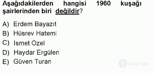 Cumhuriyet Dönemi Türk Şiiri Tek Ders Sınavı 16. Soru