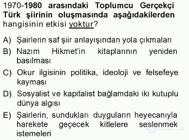Cumhuriyet Dönemi Türk Şiiri Tek Ders Sınavı 17. Soru
