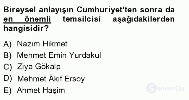 Cumhuriyet Dönemi Türk Şiiri Tek Ders Sınavı 2. Soru
