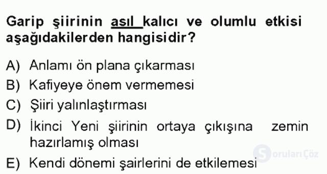 Cumhuriyet Dönemi Türk Şiiri Tek Ders Sınavı 4. Soru