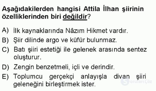 Cumhuriyet Dönemi Türk Şiiri Tek Ders Sınavı 5. Soru