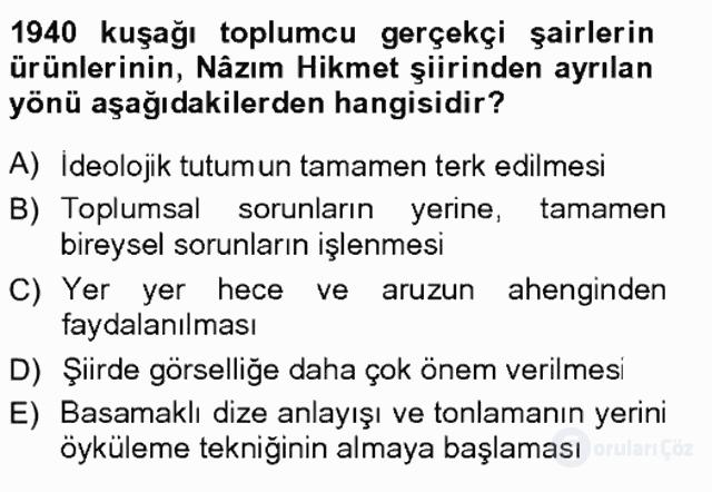 Cumhuriyet Dönemi Türk Şiiri Tek Ders Sınavı 6. Soru