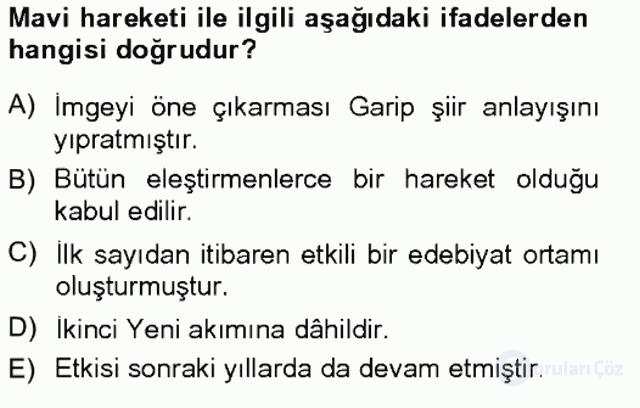 Cumhuriyet Dönemi Türk Şiiri Tek Ders Sınavı 7. Soru