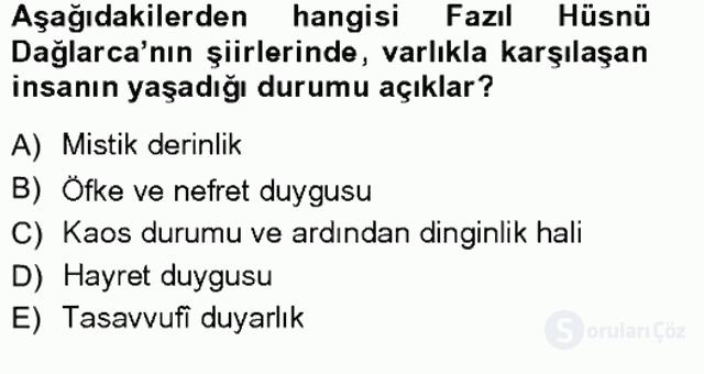 Cumhuriyet Dönemi Türk Şiiri Tek Ders Sınavı 8. Soru
