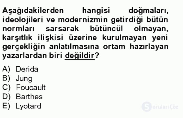 Çağdaş Türk Romanı Tek Ders Sınavı 10. Soru