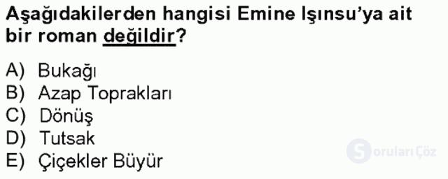 Çağdaş Türk Romanı Tek Ders Sınavı 12. Soru
