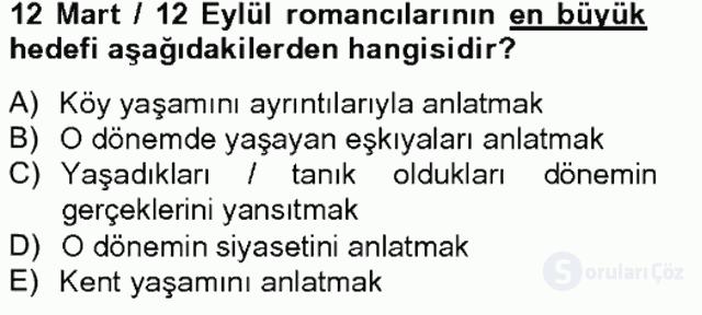 Çağdaş Türk Romanı Tek Ders Sınavı 13. Soru