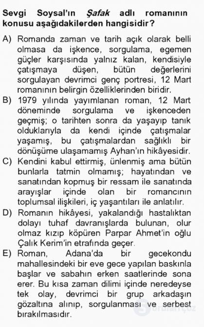 Çağdaş Türk Romanı Tek Ders Sınavı 4. Soru