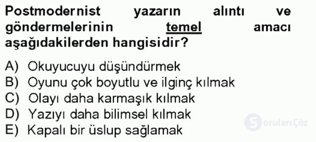 Çağdaş Türk Romanı Tek Ders Sınavı 9. Soru