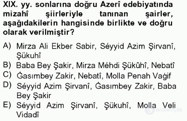 Çağdaş Türk Edebiyatları I Tek Ders Sınavı 1. Soru