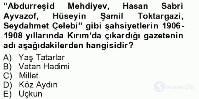 Çağdaş Türk Edebiyatları I Tek Ders Sınavı 10. Soru