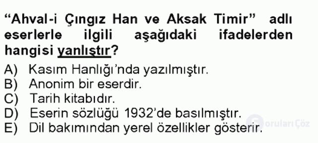 Çağdaş Türk Edebiyatları I Tek Ders Sınavı 13. Soru