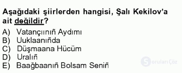 Çağdaş Türk Edebiyatları I Tek Ders Sınavı 4. Soru
