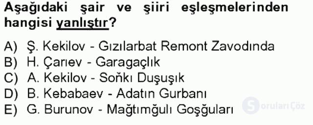 Çağdaş Türk Edebiyatları I Tek Ders Sınavı 5. Soru