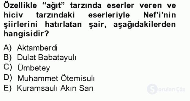 Çağdaş Türk Edebiyatları II Tek Ders Sınavı 1. Soru