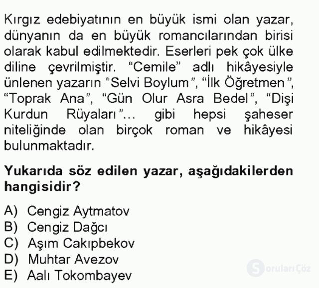 Çağdaş Türk Edebiyatları II Tek Ders Sınavı 12. Soru