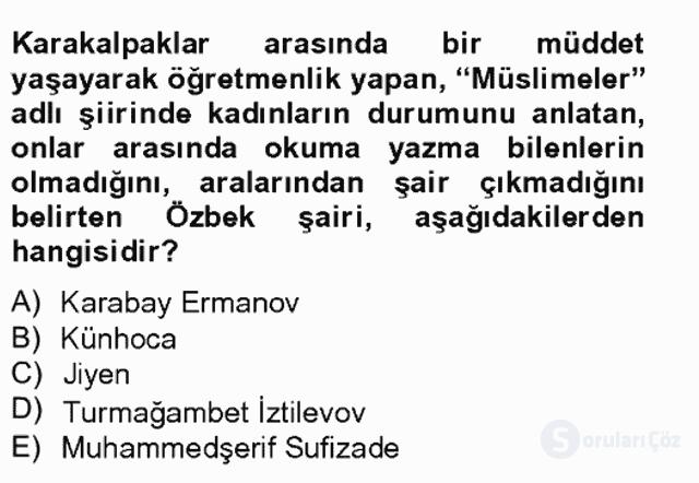 Çağdaş Türk Edebiyatları II Tek Ders Sınavı 16. Soru