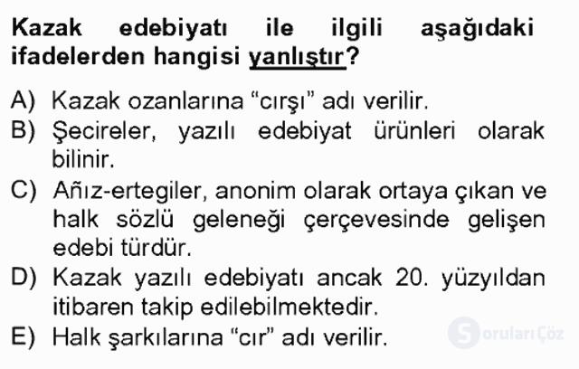 Çağdaş Türk Edebiyatları II Tek Ders Sınavı 2. Soru