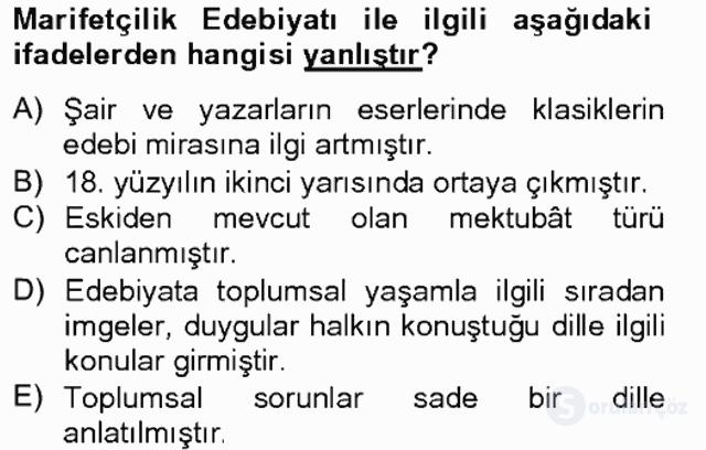 Çağdaş Türk Edebiyatları II Tek Ders Sınavı 4. Soru