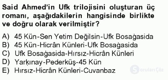 Çağdaş Türk Edebiyatları II Tek Ders Sınavı 6. Soru